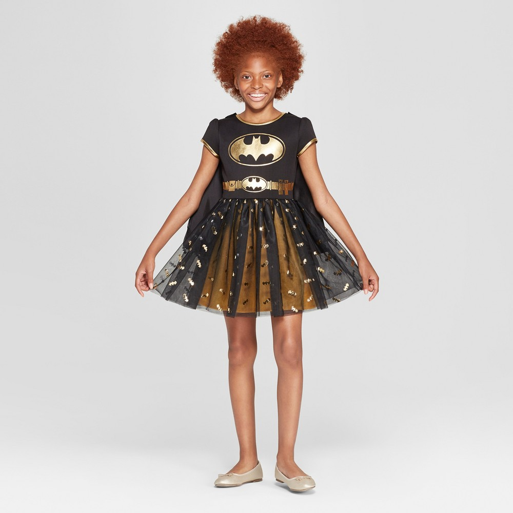 Girls' Batgirl Short Sleeve Cosplay Dress - Black/Gold S