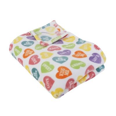"""50""""x70"""" Calico Heart Candy Flanner Fleece Folded Throw Blanket - Décor Therapy"""