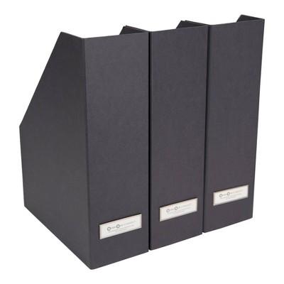 Set of 3 Viktoria Magazine File Dark Gray - Bigso Box of Sweden