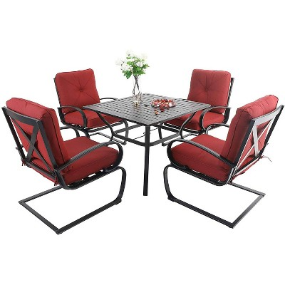 5pc Patio Dining Set with Square Table & 4 Metal Spring Motion Chairs - Red - Captiva Designs