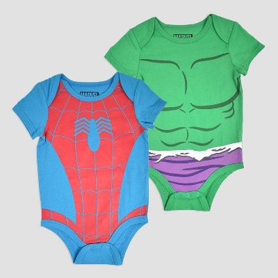 Baby Boys' 2pk Marvel Spider-Man and The Hulk Bodysuit - Blue/Red/Green Newborn