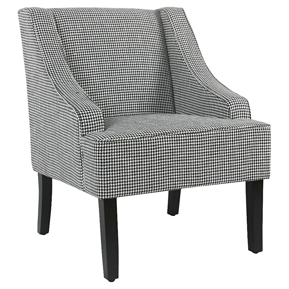 Classic Swoop Accent Chair - Black Houndstooth - Homepop
