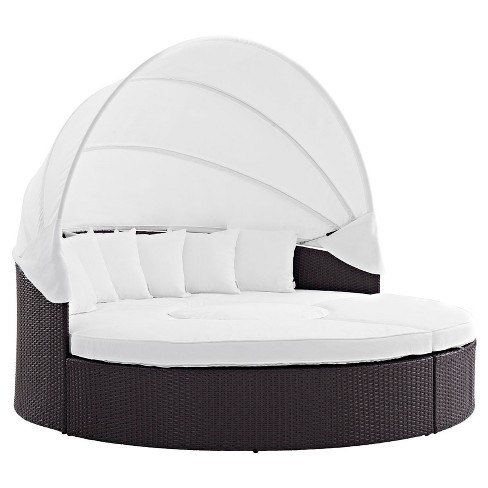 Convene Canopy Outdoor Patio Daybed in Espresso White - Modway - image 1 of 4