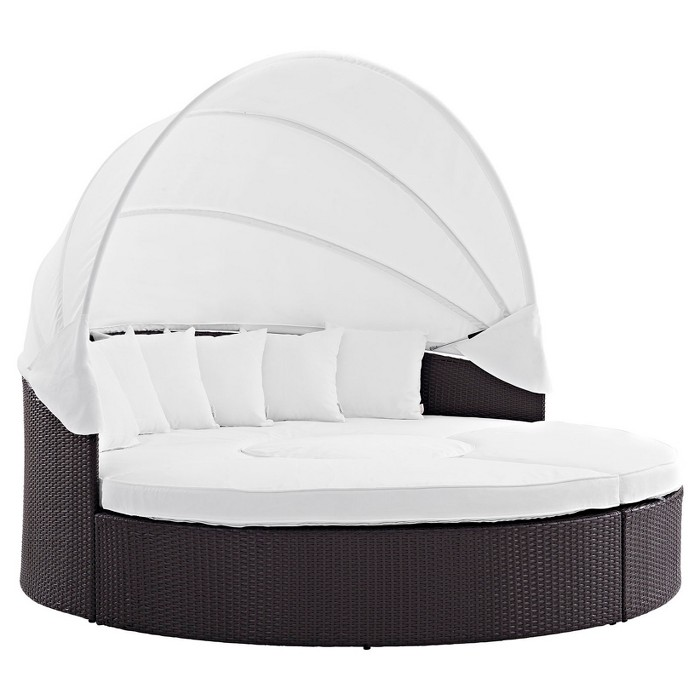 Convene Canopy Outdoor Patio Daybed in Espresso White - Modway - image 1 of 5