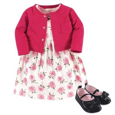 Little Treasure Baby Girl Cotton Dress, Cardigan and Shoe 3pc Set, Rose