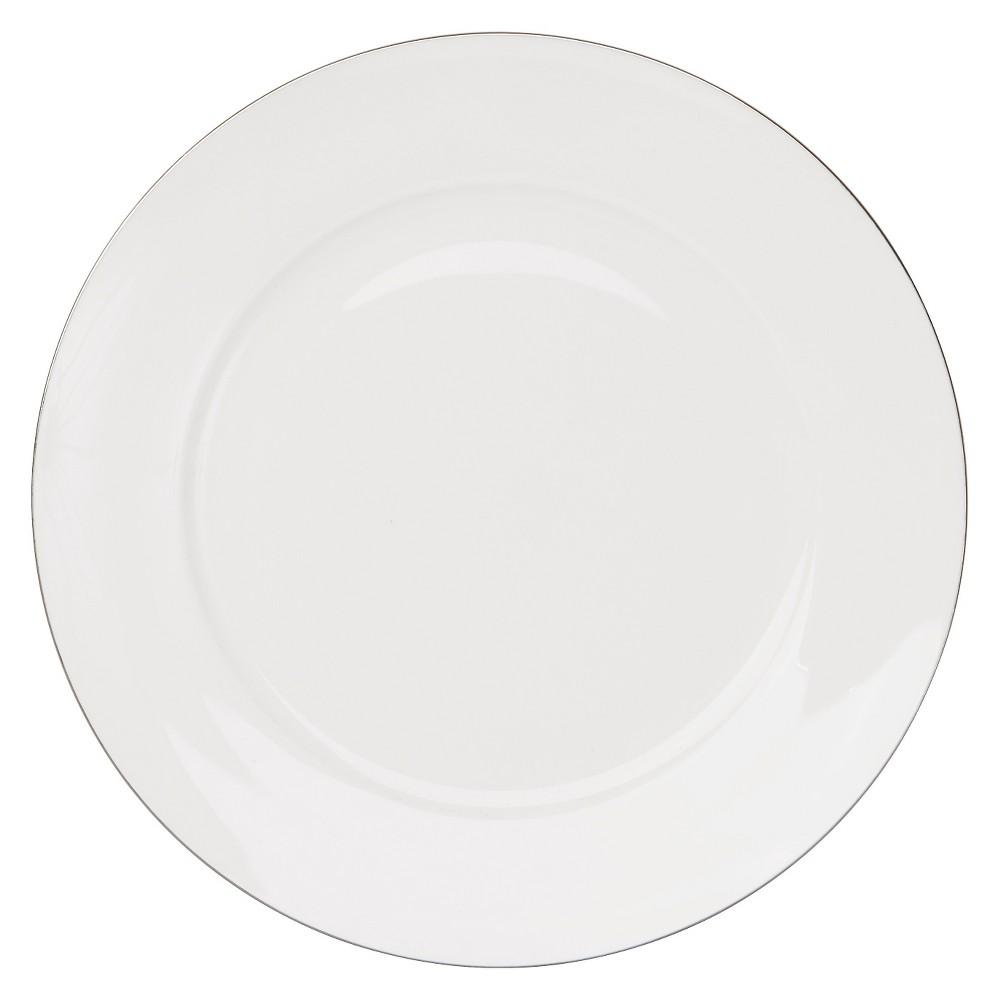 "Image of ""10 Strawberry Street Dali Bone China Salad Plate 8 """" White/Light Silver - Set of 4"""