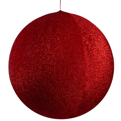 "Northlight 23.5"" Red Tinsel Inflatable Christmas Ball Ornament Outdoor Decoration"