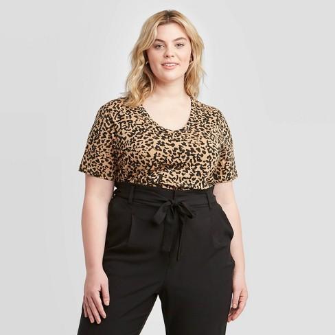 Women's Plus Size Leopard Print Short Sleeve V-Neck T-Shirt - Ava & Viv™ - image 1 of 2