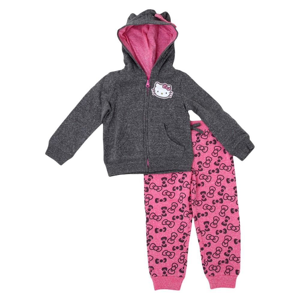 Baby Girls' Hello Kitty Top And Bottom Set Charcoal Heather 18M