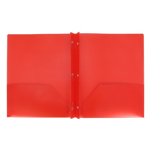 plastic folder with prongs 2 pocket red up up target