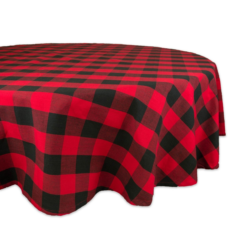 "Image of ""70""""R Buffalo Check Tablecloth Red/Black - Design Imports, Size: 70"""" Round"""