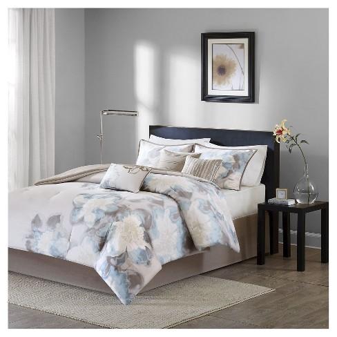 Jasmine 7 Piece Comforter Set Blue Cal King Target