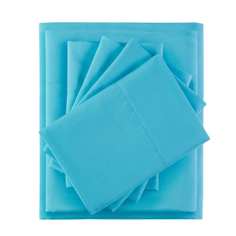 Twin XL 4pc Microfiber Sheet Set with Side Storage Pockets Aqua (Blue)