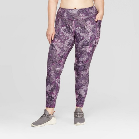 "Women's Plus Size Studio Marble Print Mid-Rise 7/8 Leggings 25"" - C9 Champion® Purple - image 1 of 2"