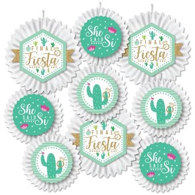 Big Dot of Happiness Final Fiesta - Hanging Last Fiesta Bachelorette Party Tissue Decoration Kit - Paper Fans - Set of 9