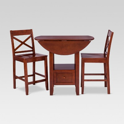 3pc Storage Extendable Dining Table Set Brown - Threshold™