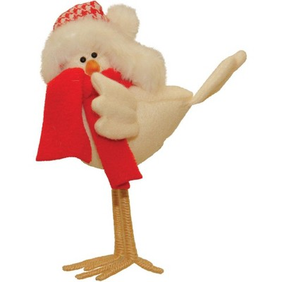 """Northlight 8.25"""" Beige and Red Standing Bird with Scarf Christmas Tabletop Figurine"""