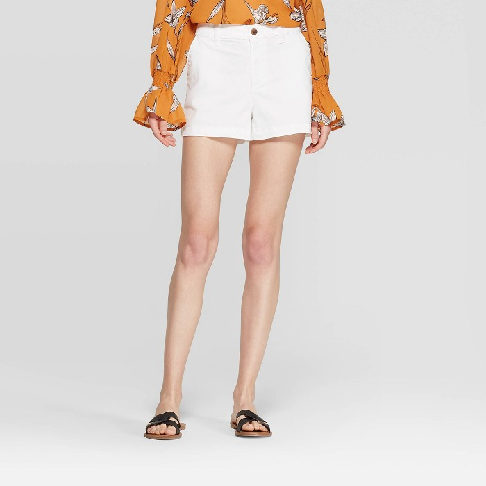 Women's High-Rise Chino Shorts - A New Day™ Fresh White - image 1 of 3
