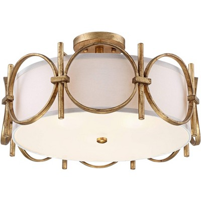 """Barnes and Ivy Modern Ceiling Light Semi Flush Mount Fixture Gold 18 1/4"""" Wide White Fabric Drum Shade Bedroom Kitchen Living Room"""