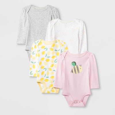 Baby Girls' 4pk Long Sleeve Oh Honeybee Bodysuits - Cloud Island™ 0-3M