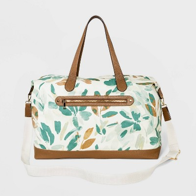 Floral Print Canvas Weekender Bag - A New Day™ White/Green