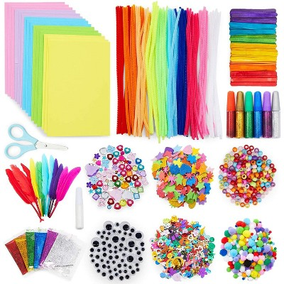 Bright Creations 1000 Pcs Set Arts and Crafts Supplies Kit for Kids, Pipe Cleaners, Feathers, Pom Poms, Googly Eyes