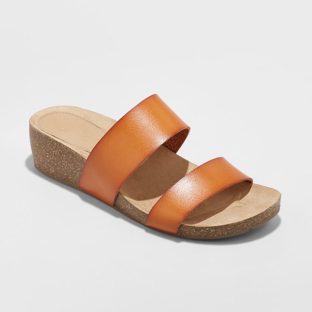 Women's Kerryl Wedge Footbed Slide Sandals - Universal Thread Cognac (Red) 8.5