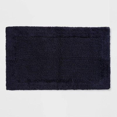 38 x23  Performance Textured Bath Rug Navy Blue - Threshold™