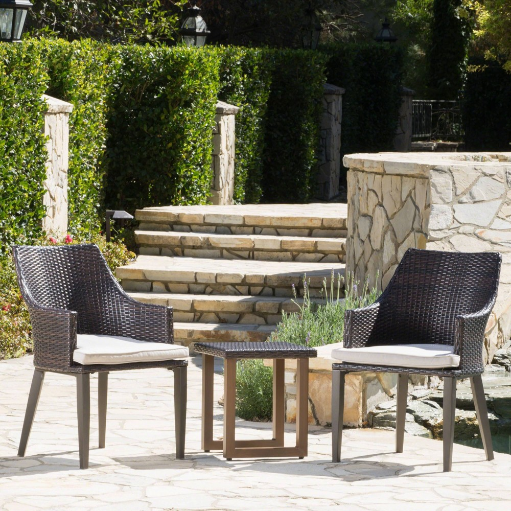 Nisha 3pc Wicker Chat Set - Brown/Light Brown - Christopher Knight Home