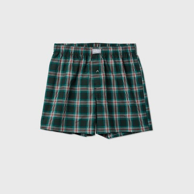 Men's Woven Plaid Boxers - Goodfellow & Co™ Green/Red