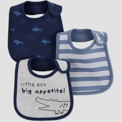 Baby Boys' 3pk Alligator Bib - Just One You® made by carter's Blue/Gray One Size