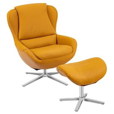 Costway Swivel Rocking Chair Top Grain Leather Lounge Armchair w/Ottoman