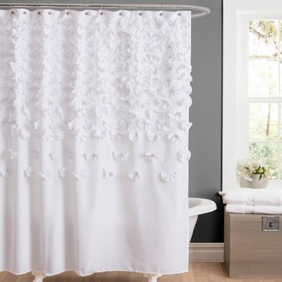 Lucia Scattered Flower Textured Shower Curtain - Lush Décor