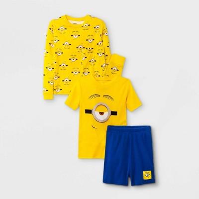 Boys' Minions 4pc Pajama Set - Yellow/Blue