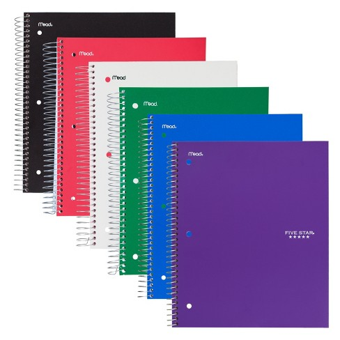 "6ct 3 Subject Spiral Notebook Wide Ruled 10.5"" x 8"" Classic Color - Five Star - image 1 of 4"