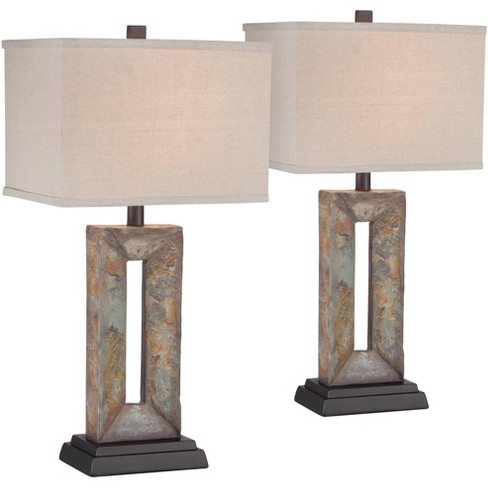 Franklin Iron Works Rustic Table Lamps Set Of 2 Natural Stale Open Rectangular Box Shade For Living Room Family Bedroom Bedside Target