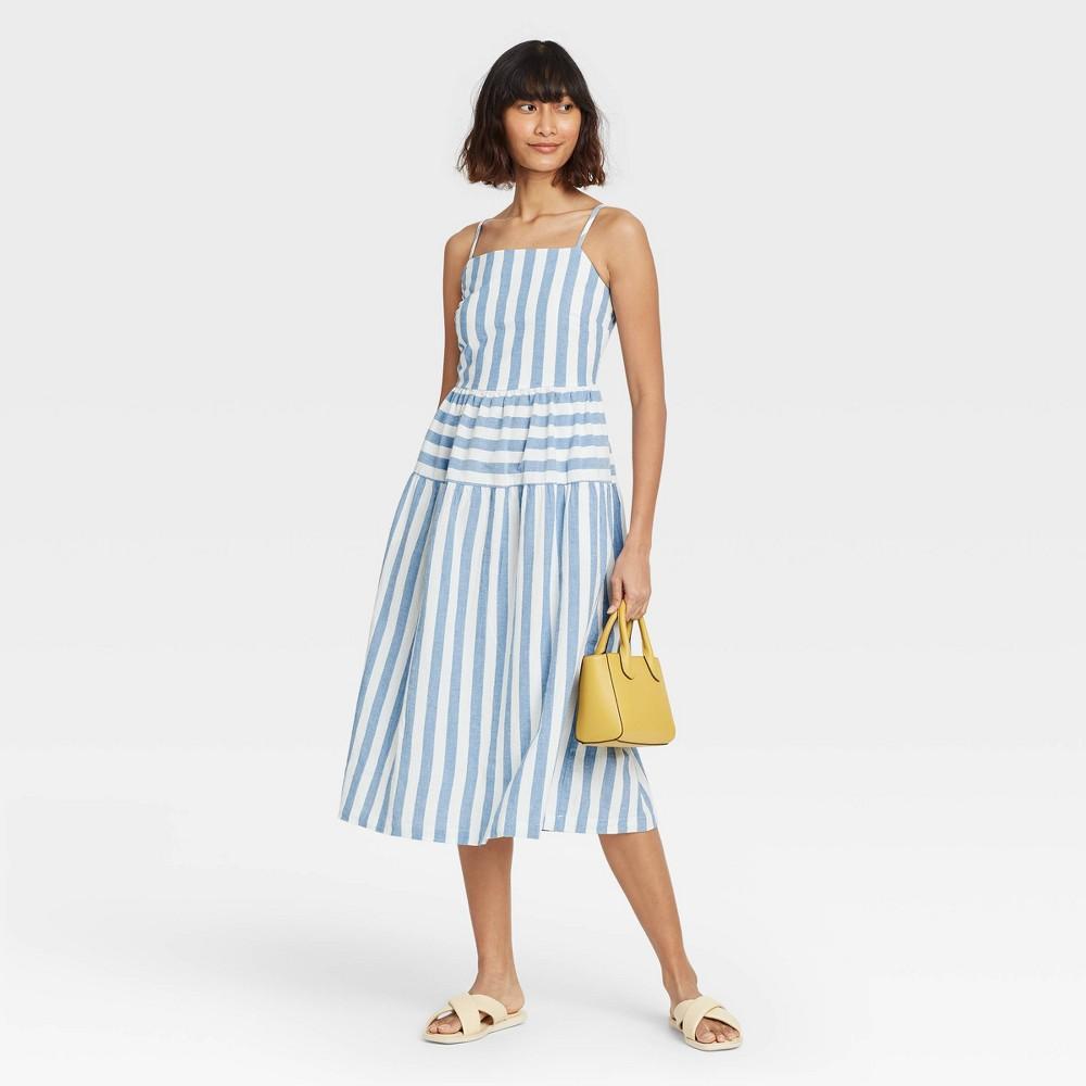 Women 39 S Striped Tiered Tank Dress Universal Thread 8482 Blue Xs