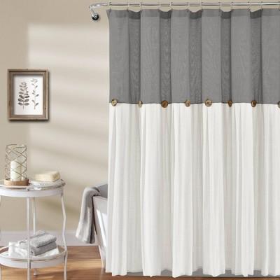 Linen Button Shower Curtain Gray/White - Lush Décor