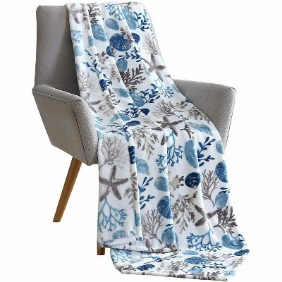 Kate Aurora Tropical Living Coral And Seashells Hypoallergenic Throw Blanket - Blue