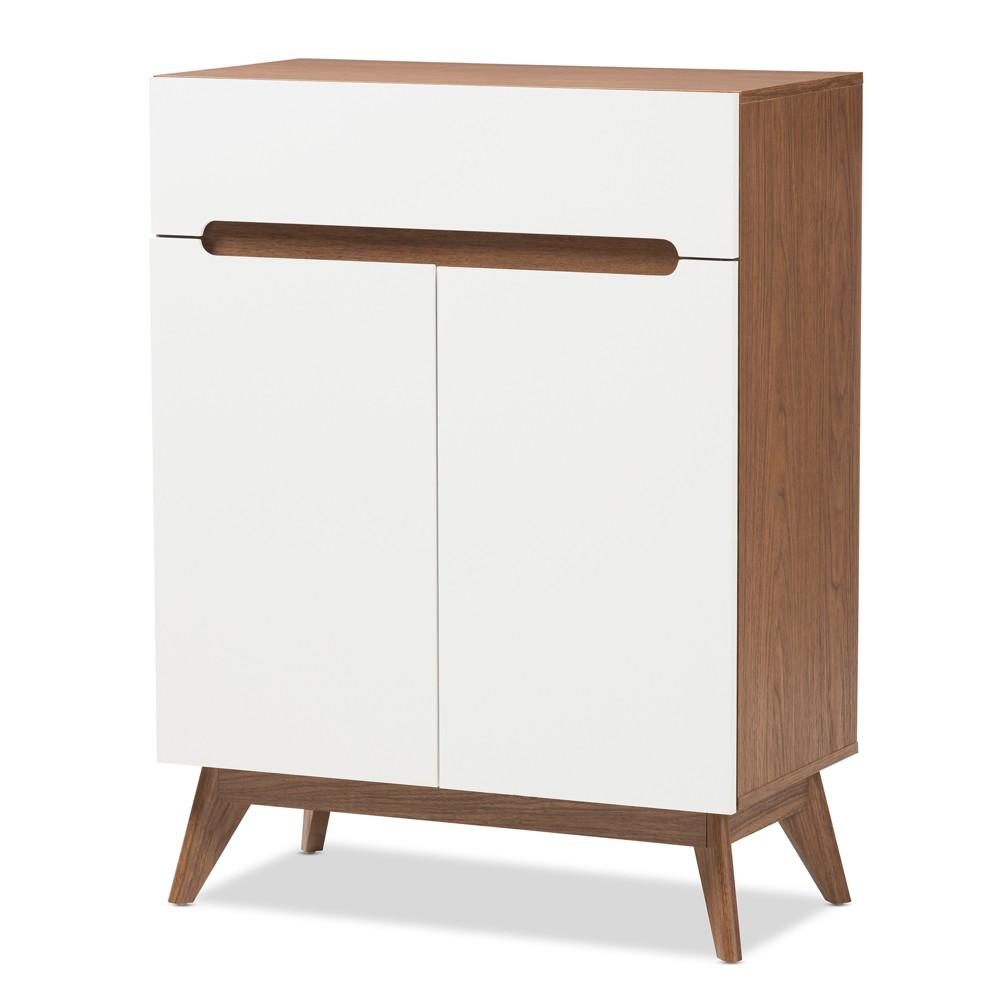 Image of Calypso Mid - Century Modern Wood Storage Shoe Cabinet - Brown - Baxton Studio, White