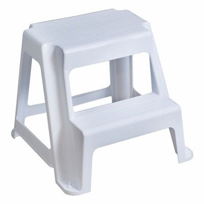 Gracious Living Extra Safe Non Slip 18.75 Inch Tall Rubber 2 Step Home Step Stool, White, Supports 300 Pounds
