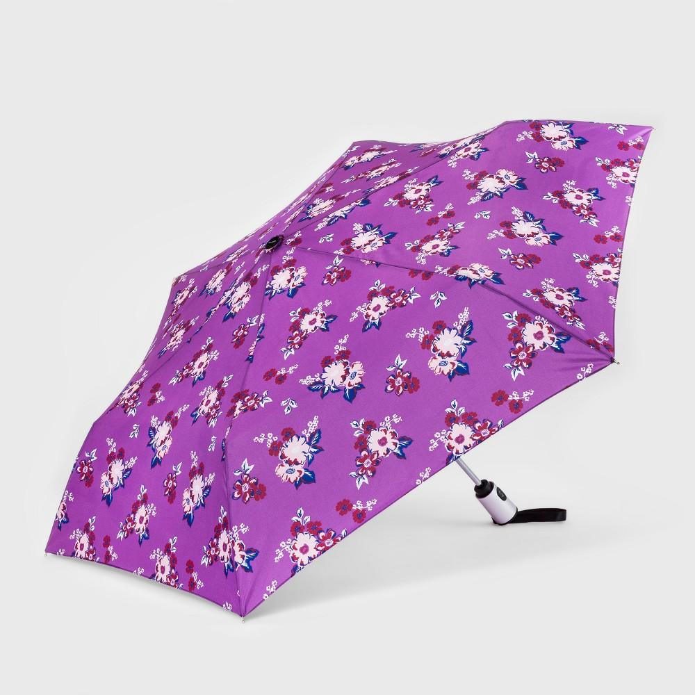 Image of Cirra by ShedRain Women's Auto Open Auto Close Floral Print Compact Umbrella - Lilac, Size: Small, Purple