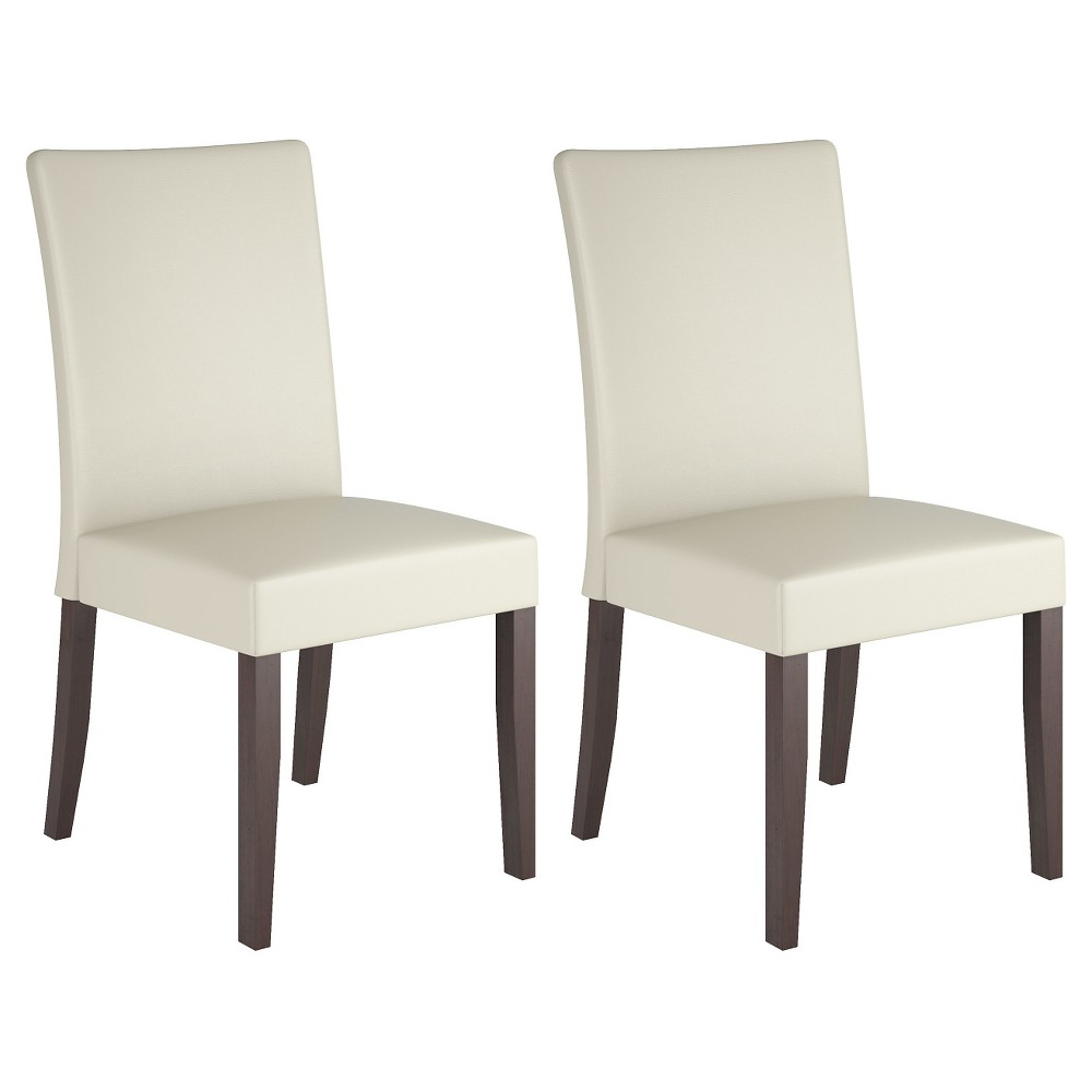 Atwood Leatherette Dining Chair Wood/Cream (Ivory) (Set of 2) - CorLiving