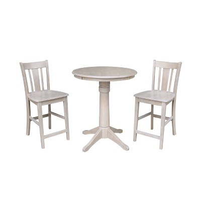 """3pc 30""""x30"""" Solid Wood Round Pedestal Counter Height Table and 2 San Remo Dining Sets Washed Gray Taupe - International Concepts"""