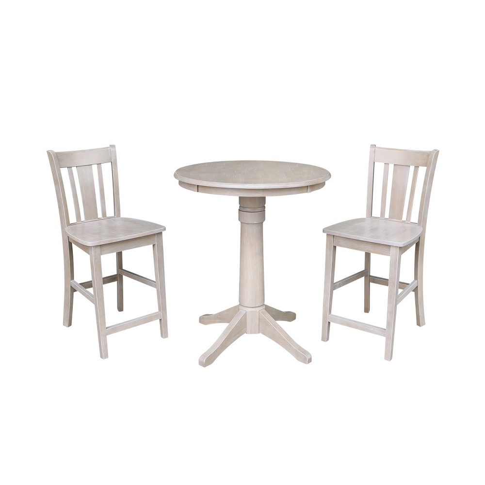 30 X Solid Wood Round Pedestal Counter Height Table And 2