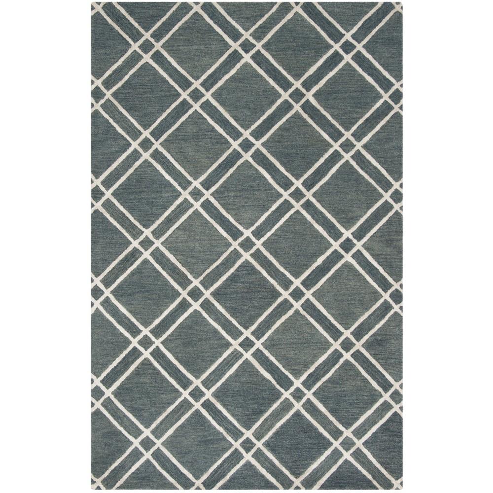 5'X8' Crosshatch Tufted Area Rug Dark Gray/Ivory - Safavieh