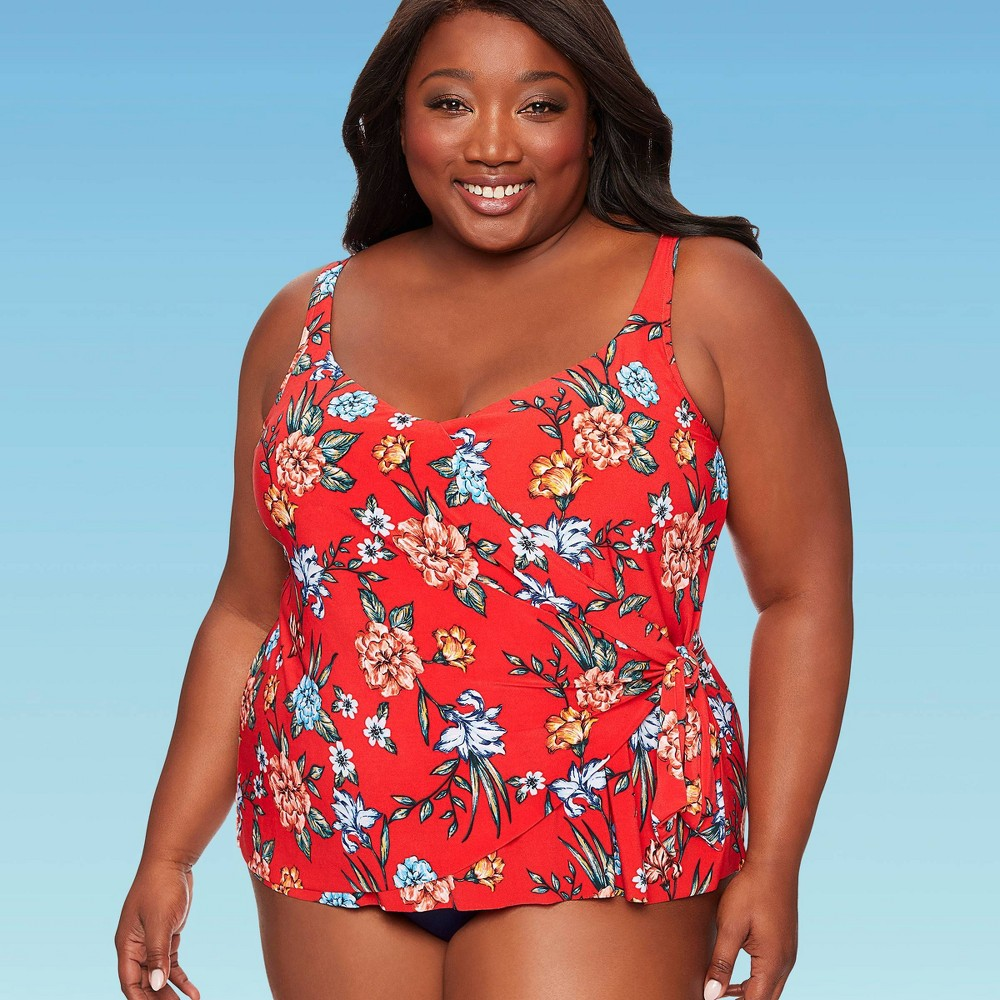 Image of Women's Plus Size Slimming Control Tie Front Tankini Top - Dreamsuit By Miracle Brands Red Floral 16W, Women's