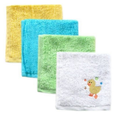 Luvable Friends Baby Unisex Super Soft Cotton Washcloths, Yellow Duck, One Size