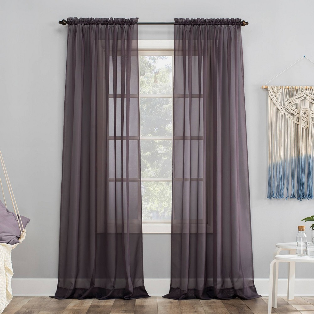 59 34 X63 34 Emily Sheer Voile Rod Pocket Curtain Panel Purple No 918