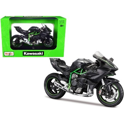 Kawasaki Ninja H2 R Black and Carbon with Plastic Display Stand 1/12 Diecast Motorcycle Model by Maisto